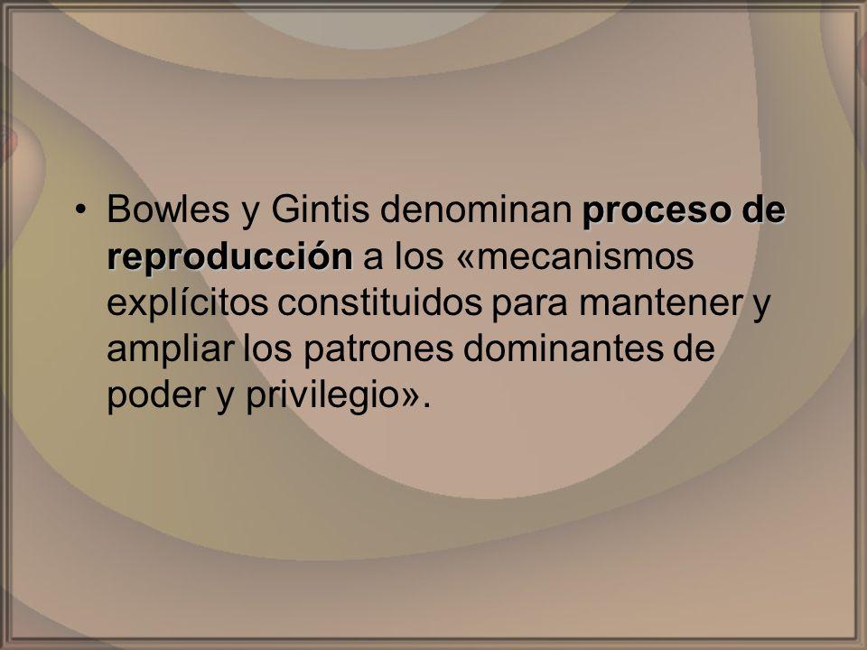 proceso de reproducciónBowles y Gintis denominan proceso de reproducción a los «mecanismos explícitos constituidos para mantener y ampliar los patrone