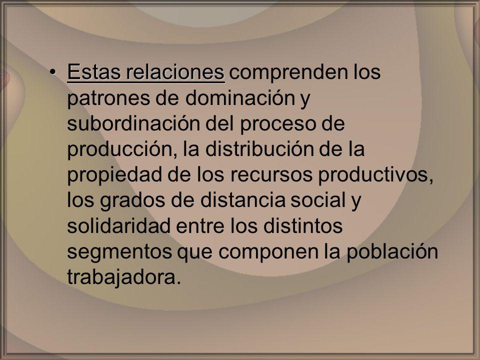 Estas relacionesEstas relaciones comprenden los patrones de dominación y subordinación del proceso de producción, la distribución de la propiedad de l