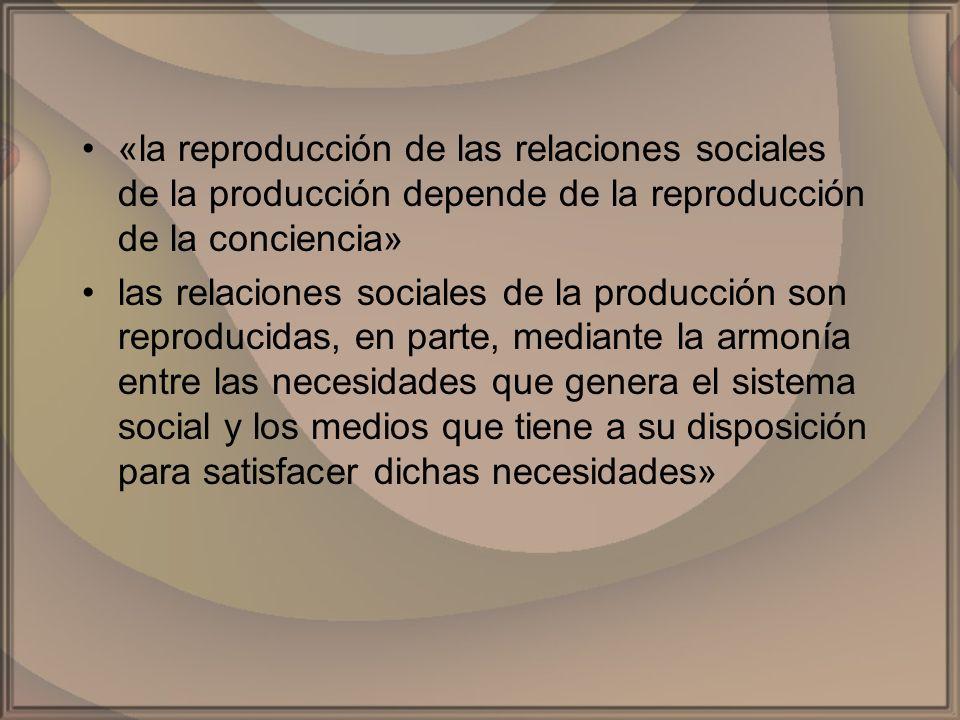 «la reproducción de las relaciones sociales de la producción depende de la reproducción de la conciencia» las relaciones sociales de la producción son