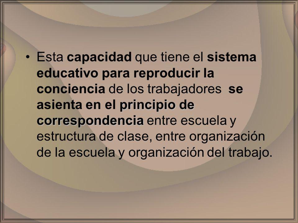 principio de correspondenciaEsta capacidad que tiene el sistema educativo para reproducir la conciencia de los trabajadores se asienta en el principio