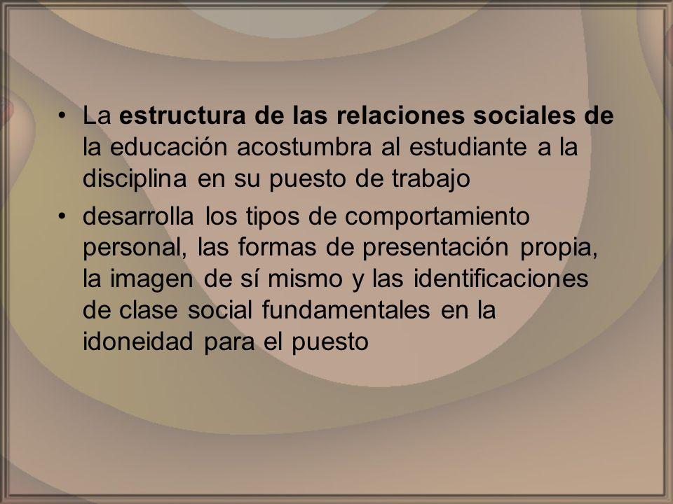 La estructura de las relaciones sociales de la educación acostumbra al estudiante a la disciplina en su puesto de trabajo desarrolla los tipos de comp