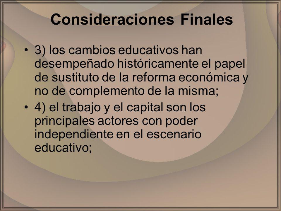 Consideraciones Finales 3) los cambios educativos han desempeñado históricamente el papel de sustituto de la reforma económica y no de complemento de