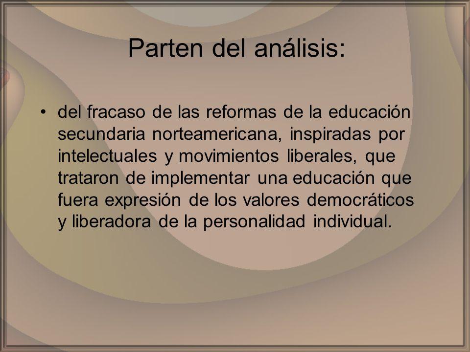 Parten del análisis: del fracaso de las reformas de la educación secundaria norteamericana, inspiradas por intelectuales y movimientos liberales, que