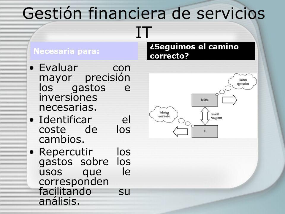 Gestión financiera de servicios IT Evaluar con mayor precisión los gastos e inversiones necesarias.