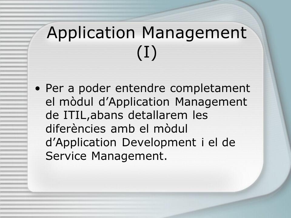 Application Management (I) Per a poder entendre completament el mòdul dApplication Management de ITIL,abans detallarem les diferències amb el mòdul dApplication Development i el de Service Management.