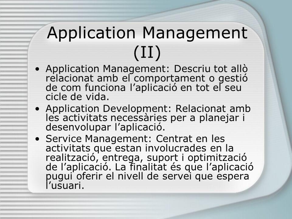 Application Management (II) Application Management: Descriu tot allò relacionat amb el comportament o gestió de com funciona laplicació en tot el seu