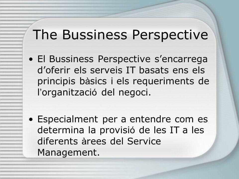 The Bussiness Perspective El Bussiness Perspective sencarrega doferir els serveis IT basats ens els principis b à sics i els requeriments de l organitzaci ó del negoci.