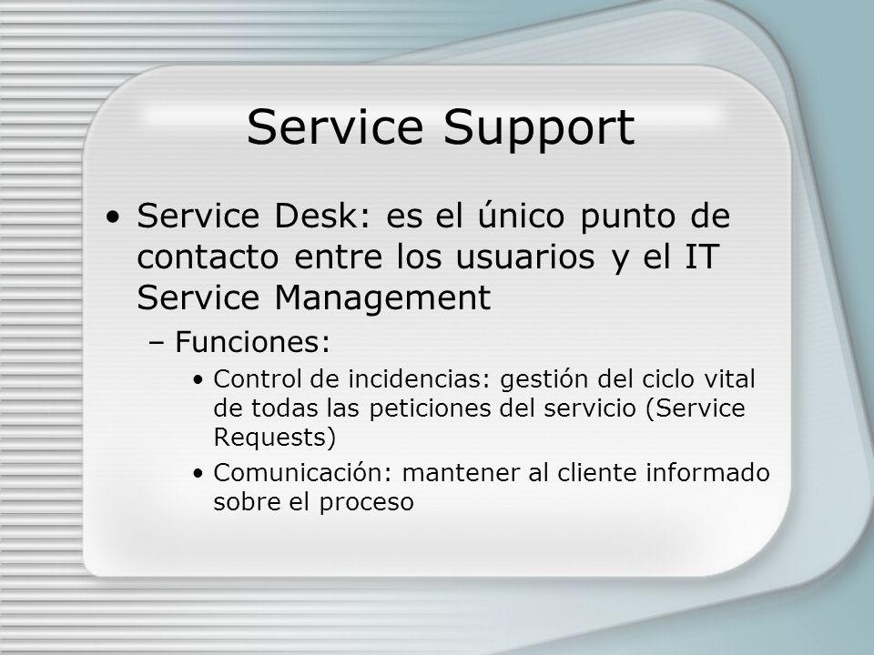 Service Support Service Desk: es el único punto de contacto entre los usuarios y el IT Service Management –Funciones: Control de incidencias: gestión del ciclo vital de todas las peticiones del servicio (Service Requests) Comunicación: mantener al cliente informado sobre el proceso