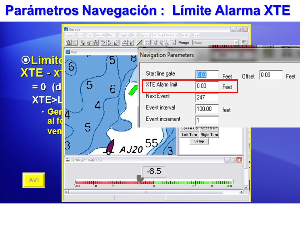 Parámetros Navegación : Límite Alarma XTE Limite Alarma XTE - XTE Alarm Limit Limite Alarma XTE - XTE Alarm Limit = 0 (desactivado) XTE>Limite Genera