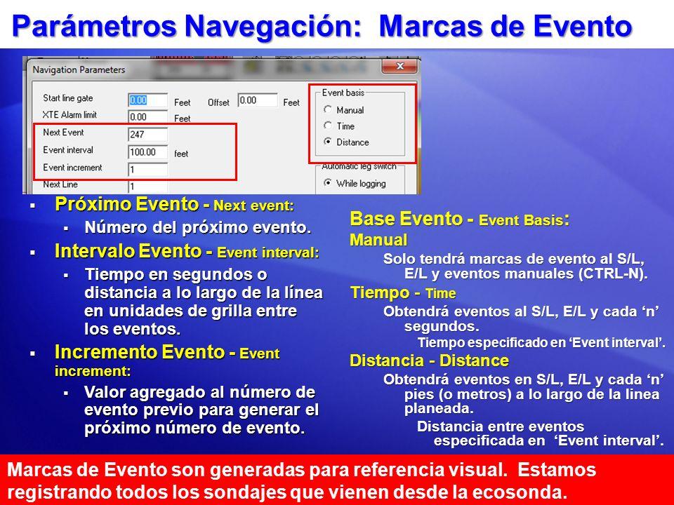 Parámetros Navegación: Marcas de Evento Base Evento - Event Basis : Manual Solo tendrá marcas de evento al S/L, E/L y eventos manuales (CTRL-N). Tiemp