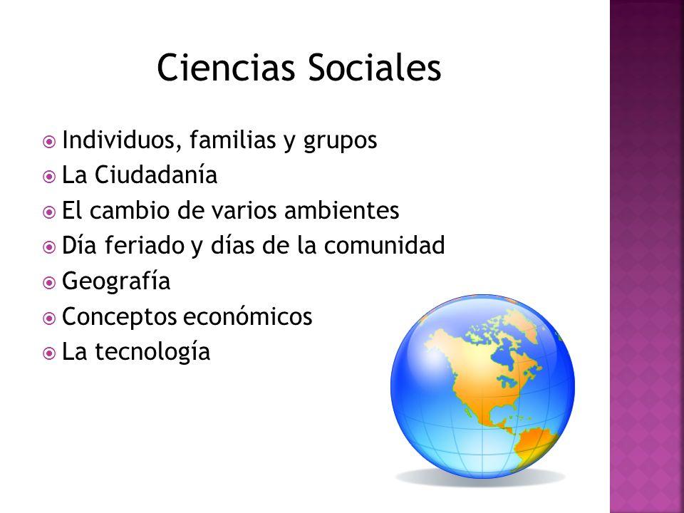 Individuos, familias y grupos La Ciudadanía El cambio de varios ambientes Día feriado y días de la comunidad Geografía Conceptos económicos La tecnolo