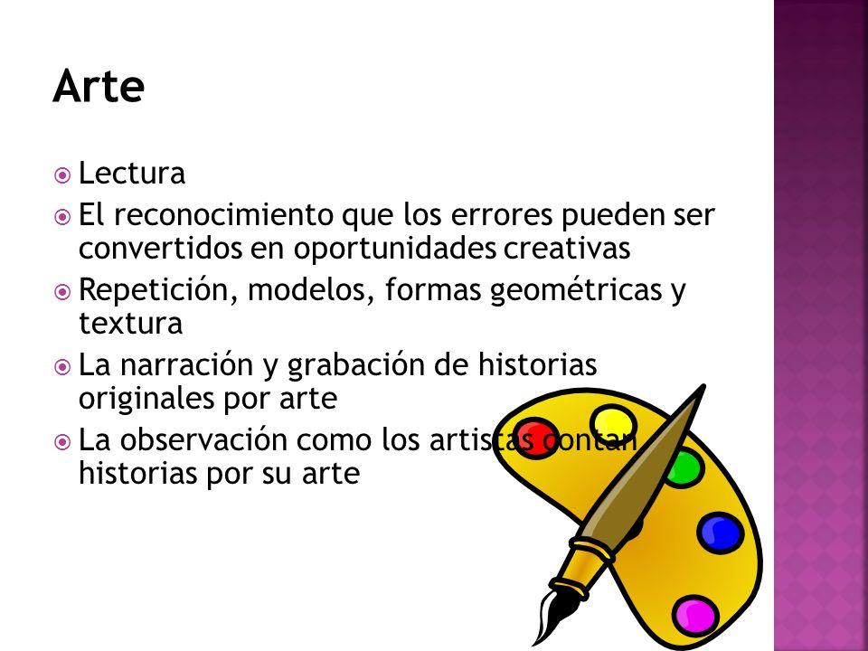 Lectura El reconocimiento que los errores pueden ser convertidos en oportunidades creativas Repetición, modelos, formas geométricas y textura La narra