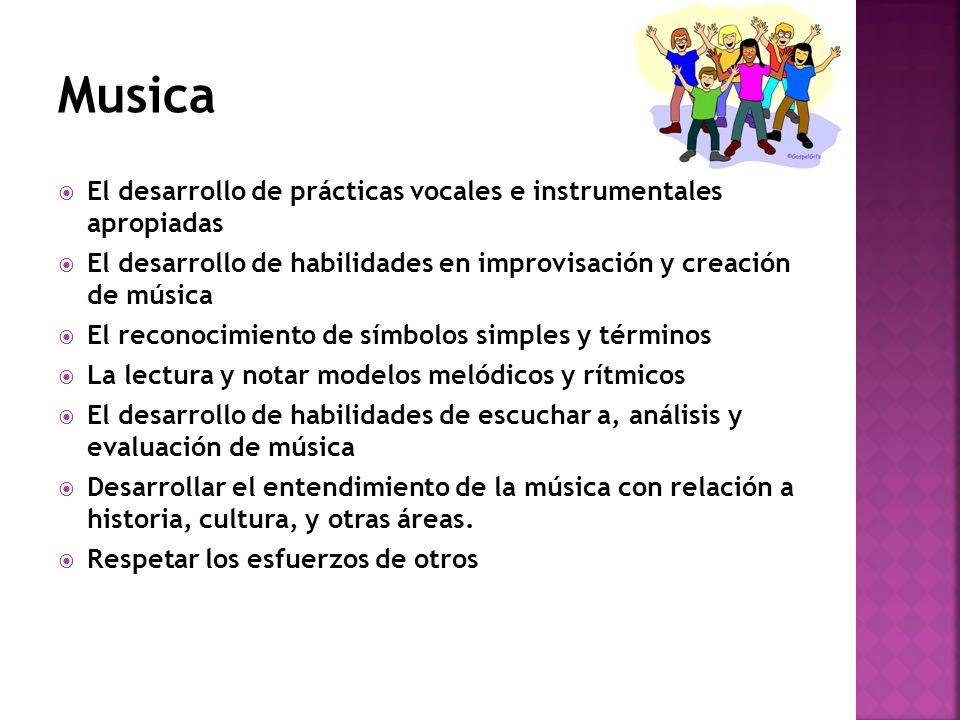 El desarrollo de prácticas vocales e instrumentales apropiadas El desarrollo de habilidades en improvisación y creación de música El reconocimiento de