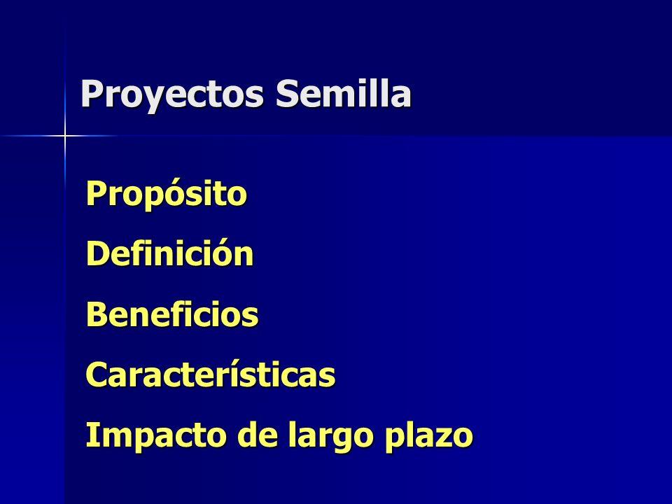 Proyectos Semilla PropósitoDefiniciónBeneficiosCaracterísticas Impacto de largo plazo