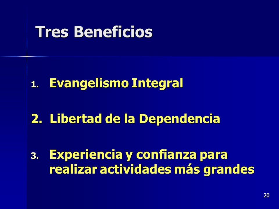 20 Tres Beneficios 1. Evangelismo Integral 2. Libertad de la Dependencia 3. Experiencia y confianza para realizar actividades más grandes