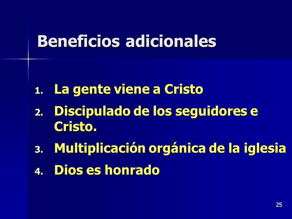 25 Beneficios adicionales 1. La gente viene a Cristo 2. Discipulado de los seguidores e Cristo. 3. Multiplicación orgánica de la iglesia 4. Dios es ho