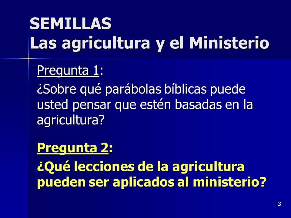 3 Pregunta 1: ¿Sobre qué parábolas bíblicas puede usted pensar que estén basadas en la agricultura? Pregunta 2: ¿Qué lecciones de la agricultura puede
