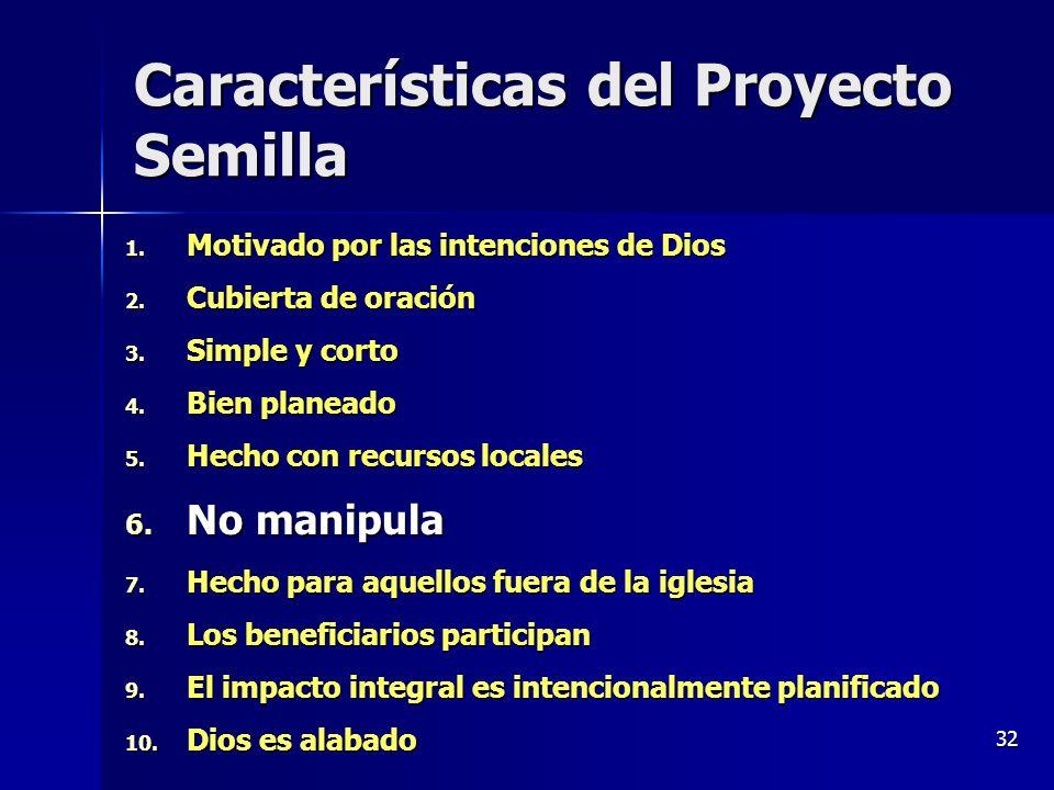32 Características del Proyecto Semilla 1. Motivado por las intenciones de Dios 2. Cubierta de oración 3. Simple y corto 4. Bien planeado 5. Hecho con