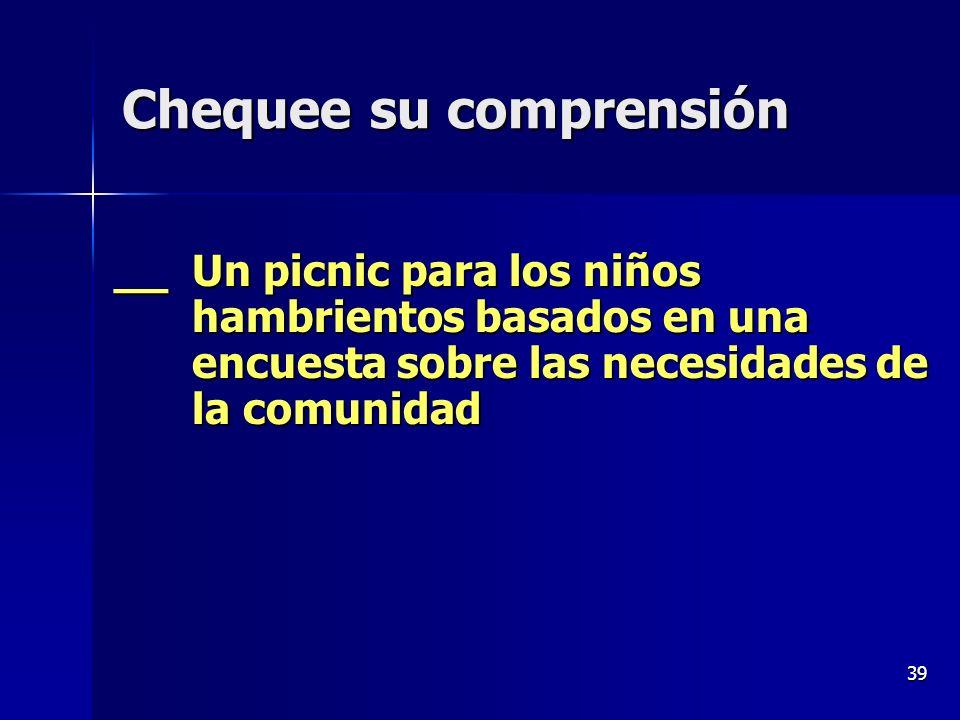 39 __ Un picnic para los niños hambrientos basados en una encuesta sobre las necesidades de la comunidad Chequee su comprensión