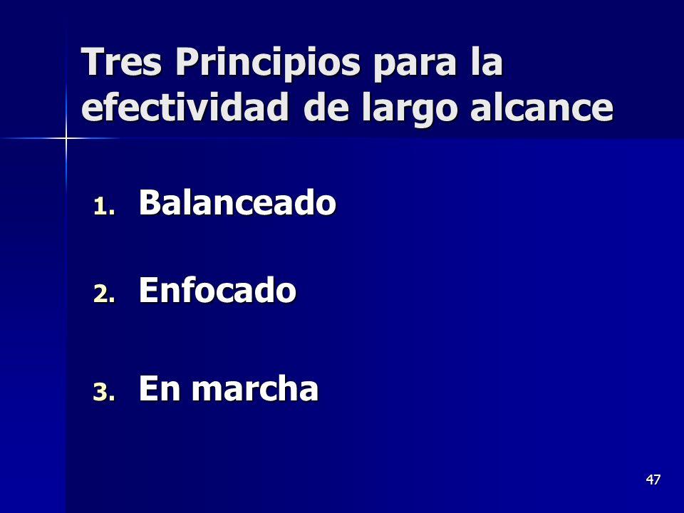 47 Tres Principios para la efectividad de largo alcance 1. Balanceado 2. Enfocado 3. En marcha