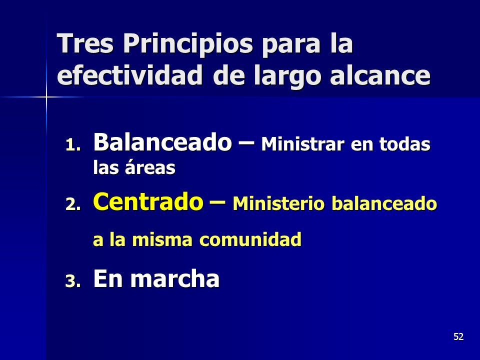 52 Tres Principios para la efectividad de largo alcance 1. Balanceado – Ministrar en todas las áreas 2. Centrado – Ministerio balanceado a la misma co