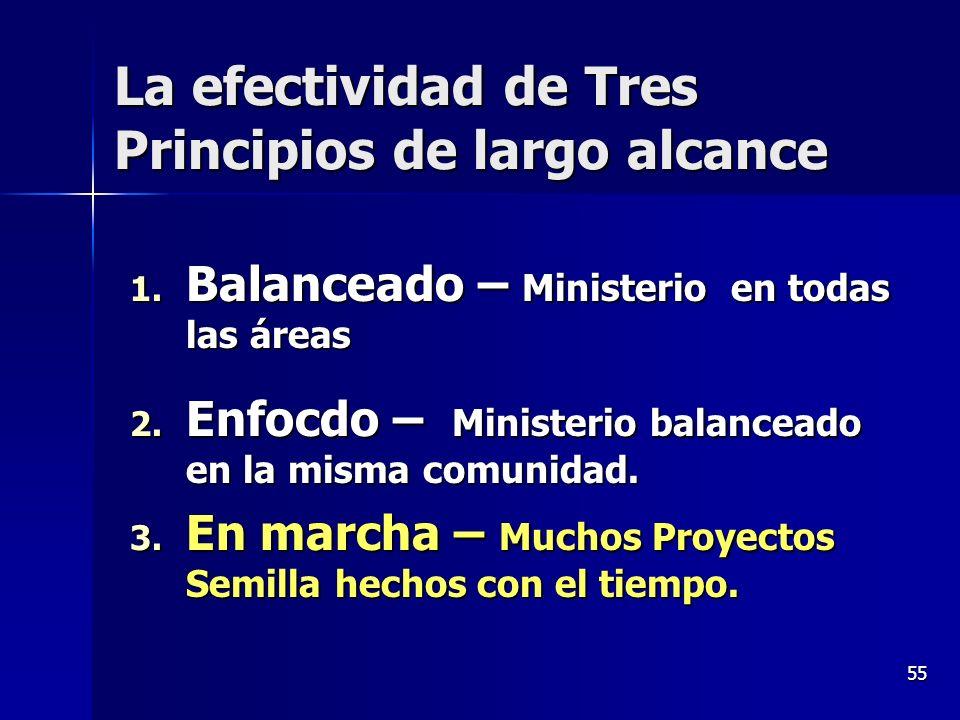 55 La efectividad de Tres Principios de largo alcance 1. Balanceado – Ministerio en todas las áreas 2. Enfocdo – Ministerio balanceado en la misma com