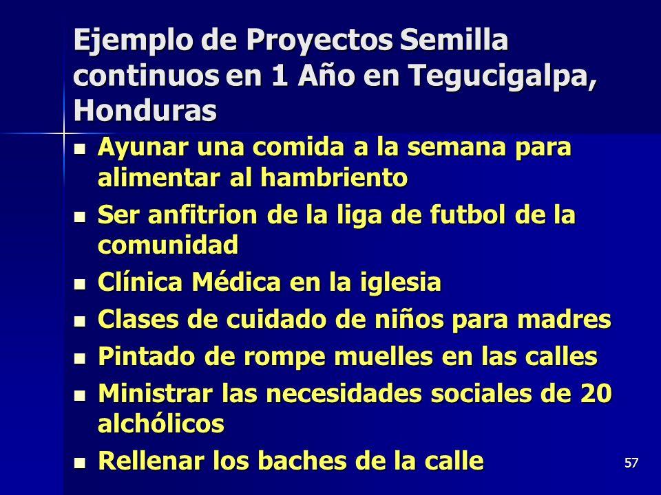57 Ejemplo de Proyectos Semilla continuos en 1 Año en Tegucigalpa, Honduras Ayunar una comida a la semana para alimentar al hambriento Ayunar una comi