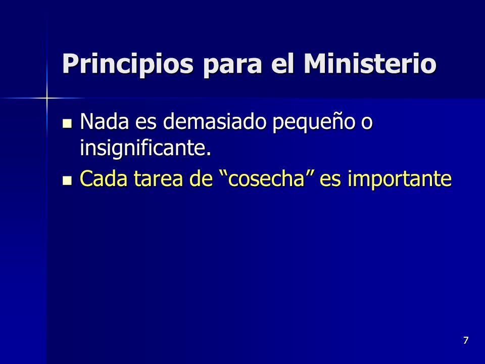 7 Principios para el Ministerio Nada es demasiado pequeño o insignificante. Nada es demasiado pequeño o insignificante. Cada tarea de cosecha es impor