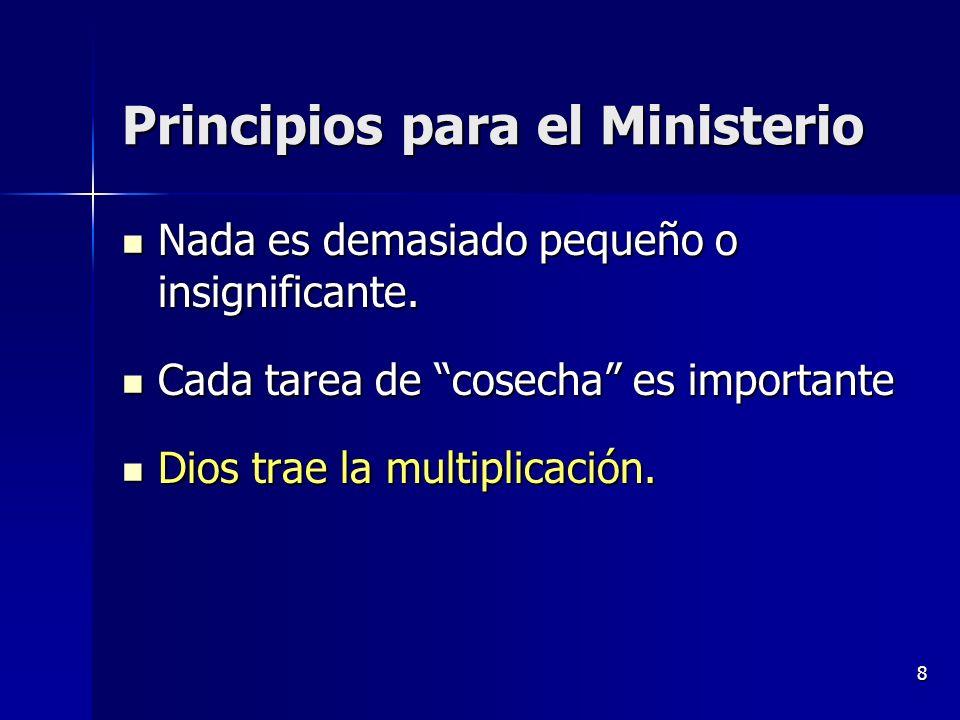 8 Principios para el Ministerio Nada es demasiado pequeño o insignificante. Nada es demasiado pequeño o insignificante. Cada tarea de cosecha es impor