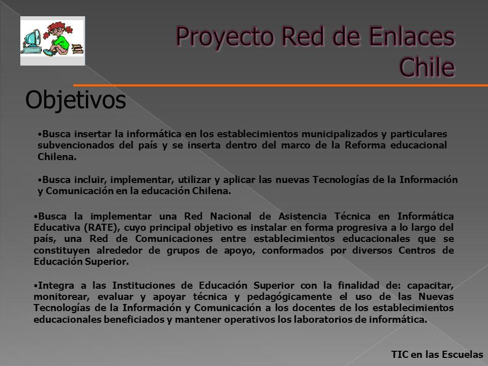 TIC en las Escuelas Busca insertar la informática en los establecimientos municipalizados y particulares subvencionados del país y se inserta dentro d
