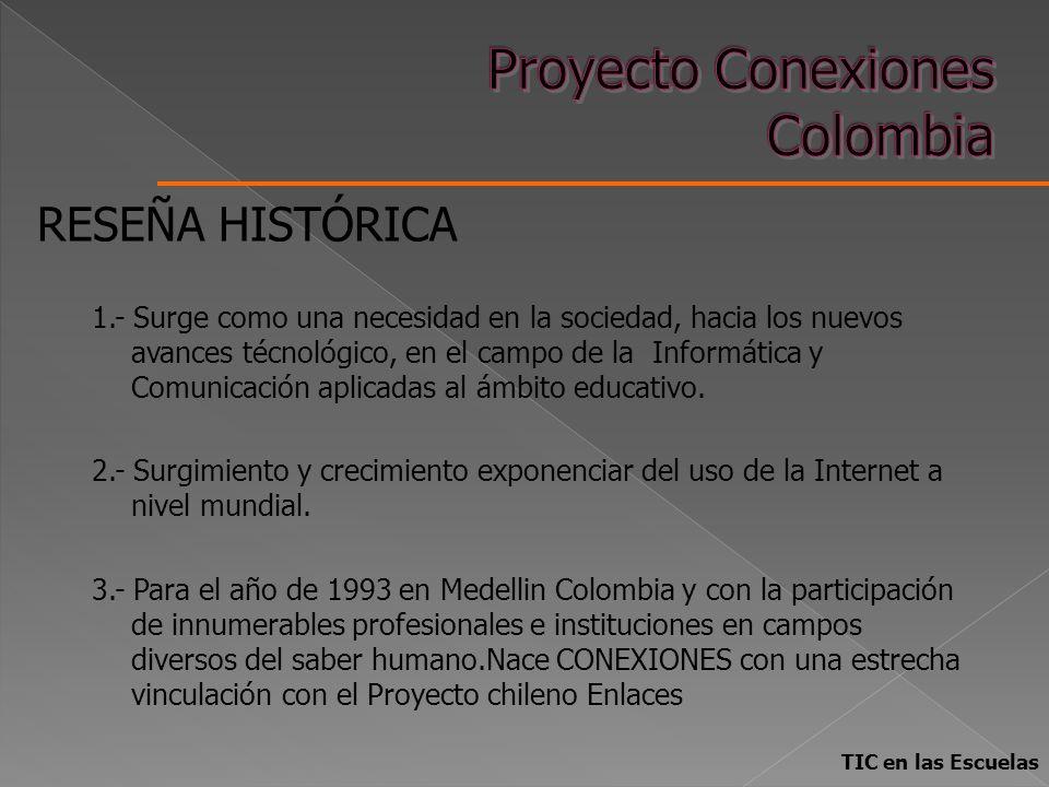 TIC en las Escuelas RESEÑA HISTÓRICA 1.- Surge como una necesidad en la sociedad, hacia los nuevos avances técnológico, en el campo de la Informática