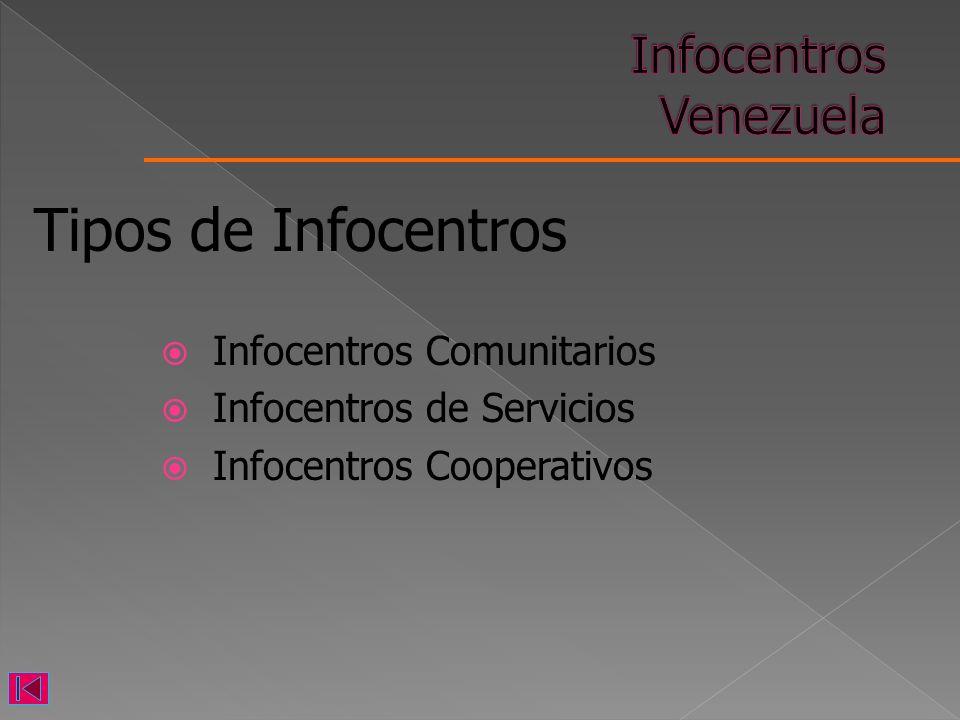 Infocentros Comunitarios Infocentros de Servicios Infocentros Cooperativos Tipos de Infocentros