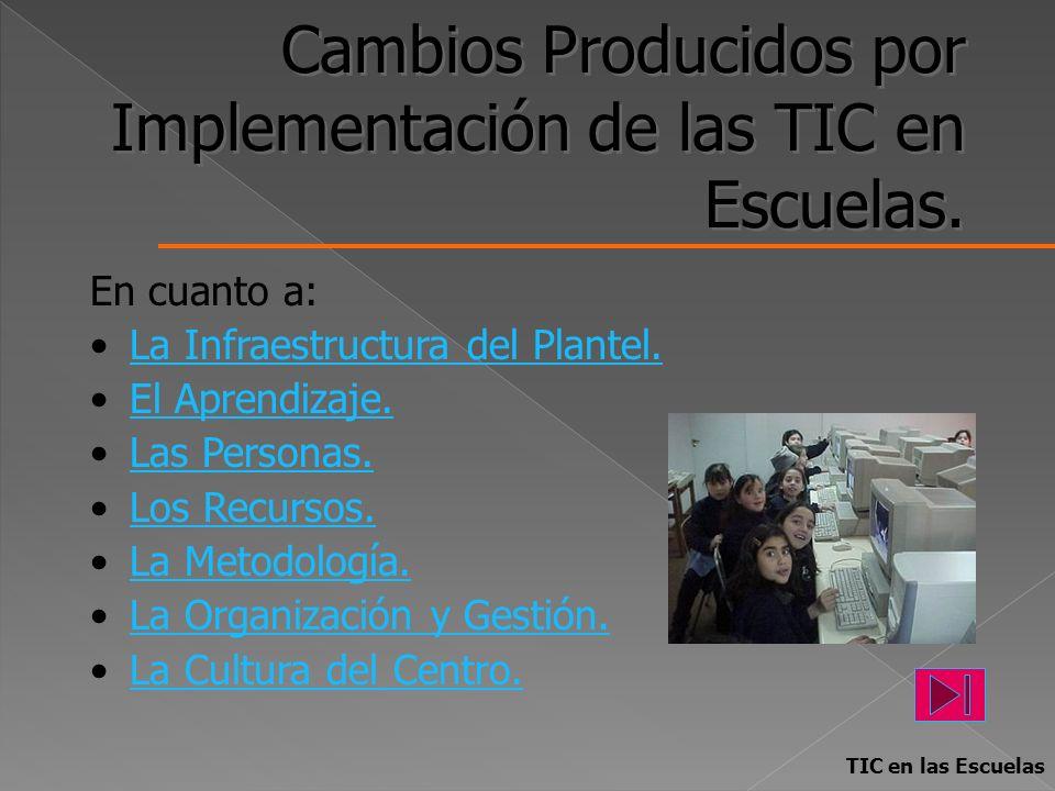 Cambios Producidos por Implementación de las TIC en Escuelas. En cuanto a: La Infraestructura del Plantel. El Aprendizaje. Las Personas. Los Recursos.