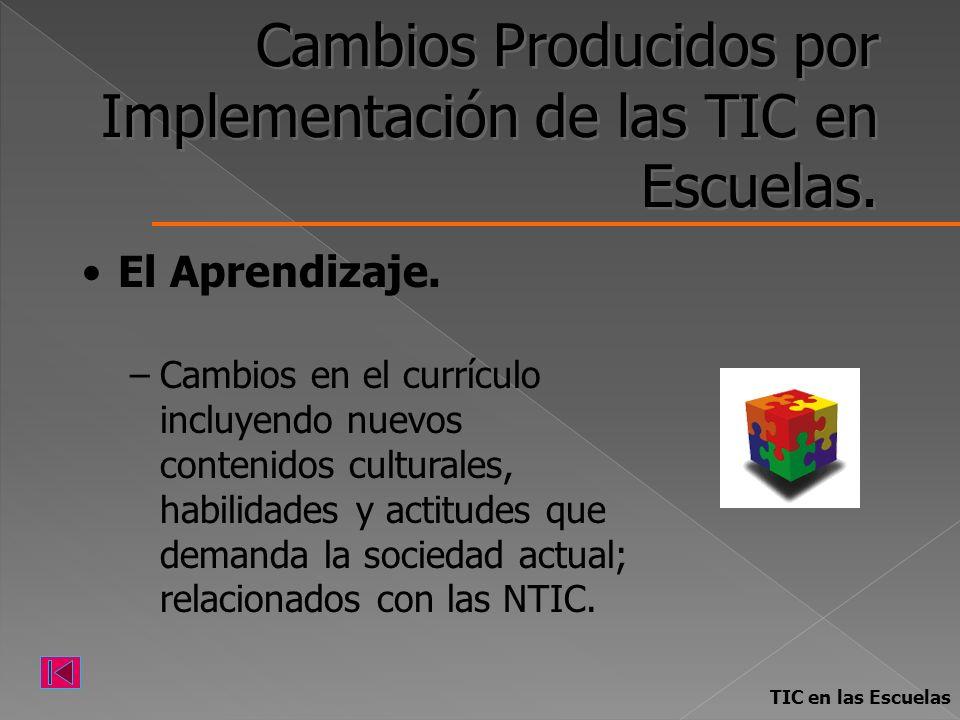 Cambios Producidos por Implementación de las TIC en Escuelas. El Aprendizaje. –Cambios en el currículo incluyendo nuevos contenidos culturales, habili