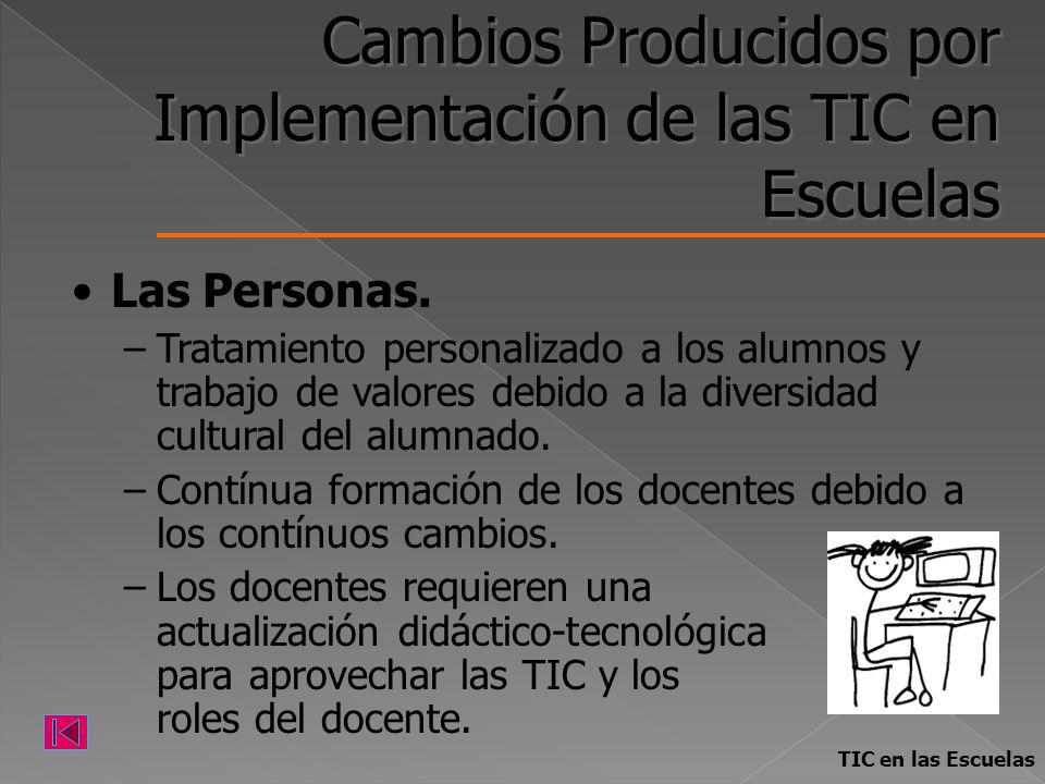 Cambios Producidos por Implementación de las TIC en Escuelas Las Personas. –Tratamiento personalizado a los alumnos y trabajo de valores debido a la d