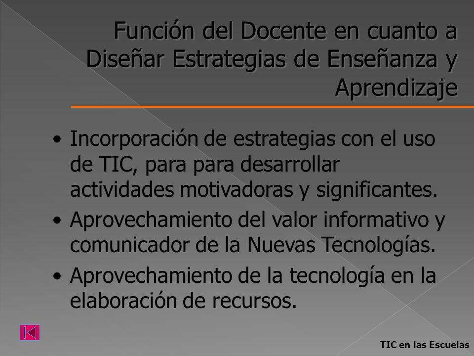 Función del Docente en cuanto a Diseñar Estrategias de Enseñanza y Aprendizaje Incorporación de estrategias con el uso de TIC, para para desarrollar a