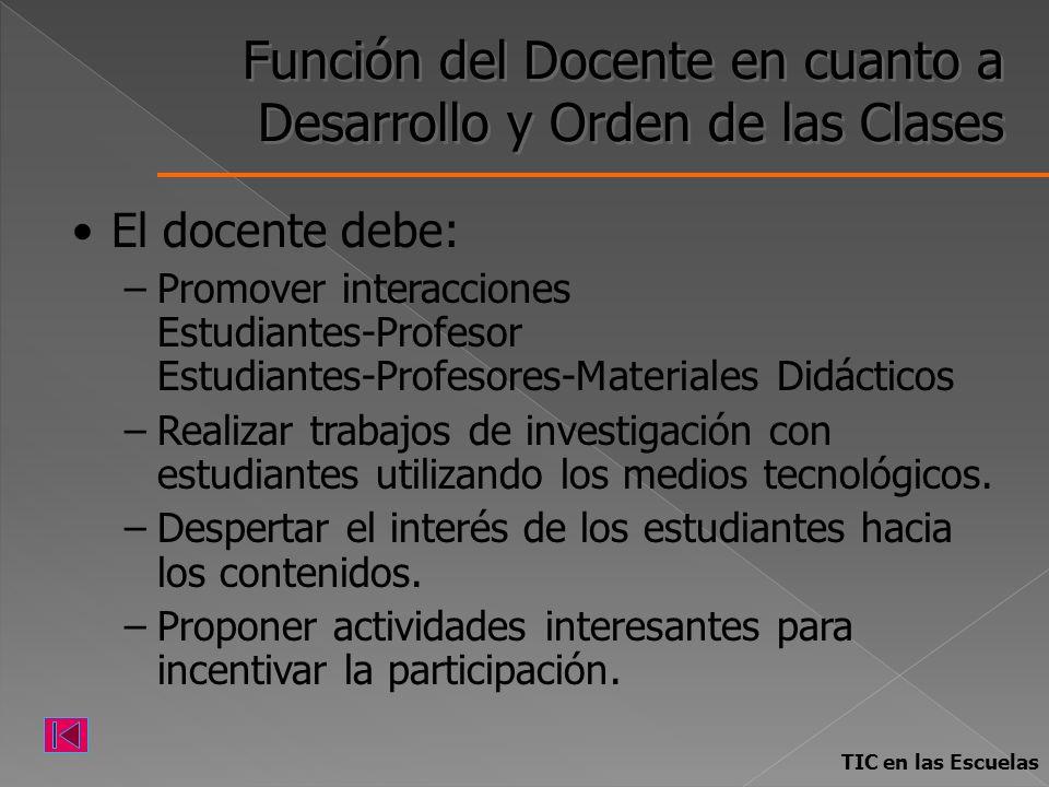 Función del Docente en cuanto a Desarrollo y Orden de las Clases El docente debe: –Promover interacciones Estudiantes-Profesor Estudiantes-Profesores-