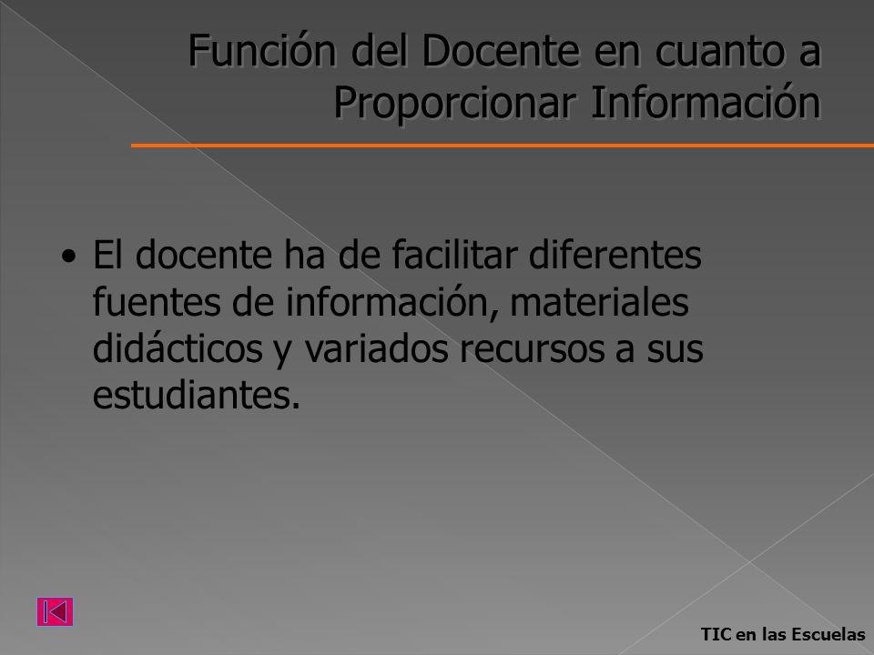 Función del Docente en cuanto a Proporcionar Información El docente ha de facilitar diferentes fuentes de información, materiales didácticos y variado