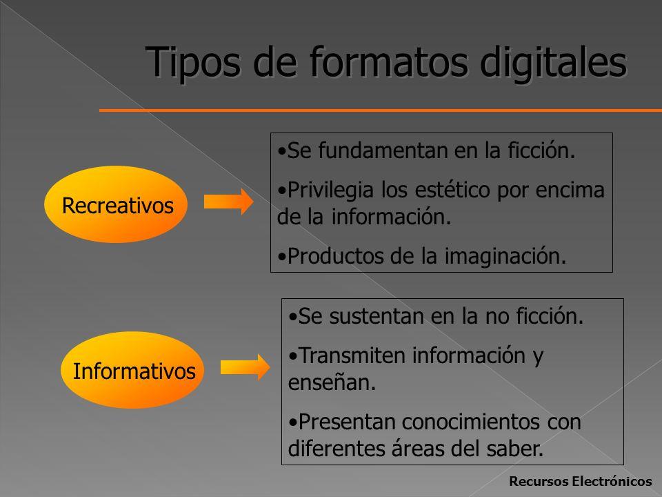 Tipos de formatos digitales Recreativos Informativos Se fundamentan en la ficción. Privilegia los estético por encima de la información. Productos de
