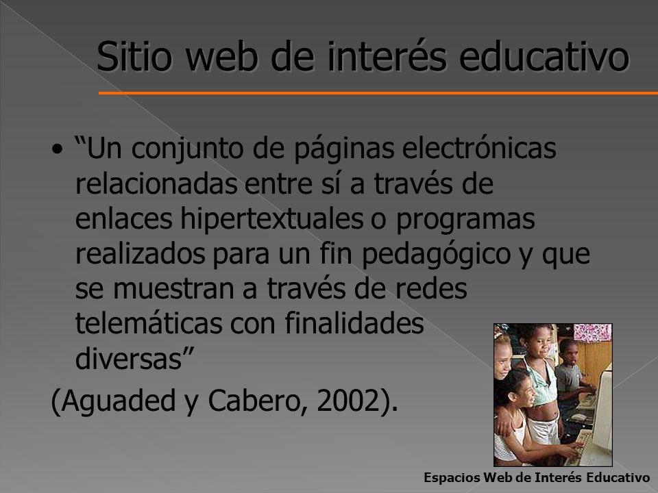 Sitio web de interés educativo Un conjunto de páginas electrónicas relacionadas entre sí a través de enlaces hipertextuales o programas realizados par