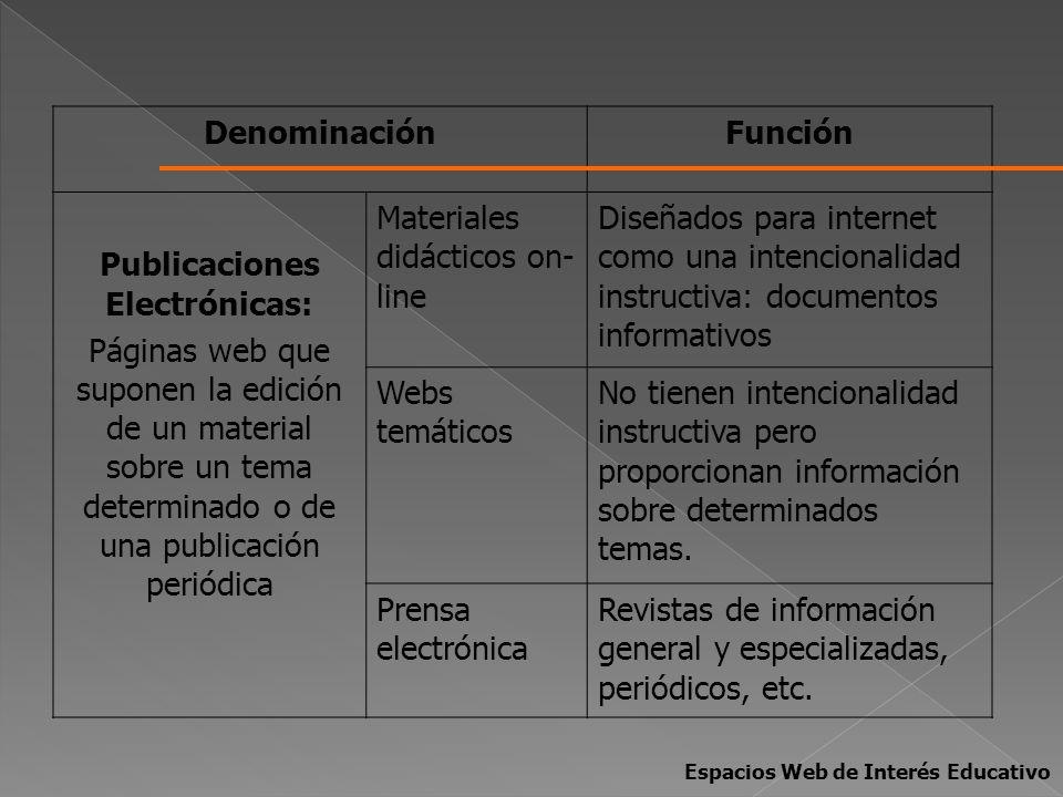 DenominaciónFunción Publicaciones Electrónicas: Páginas web que suponen la edición de un material sobre un tema determinado o de una publicación perió
