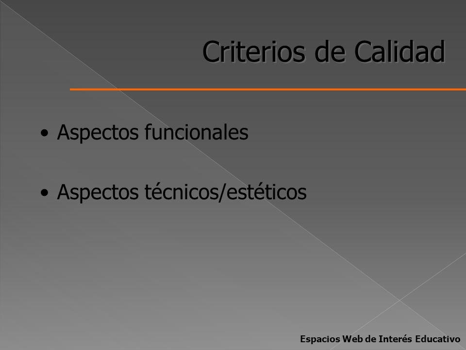 Criterios de Calidad Aspectos funcionales Aspectos técnicos/estéticos Espacios Web de Interés Educativo