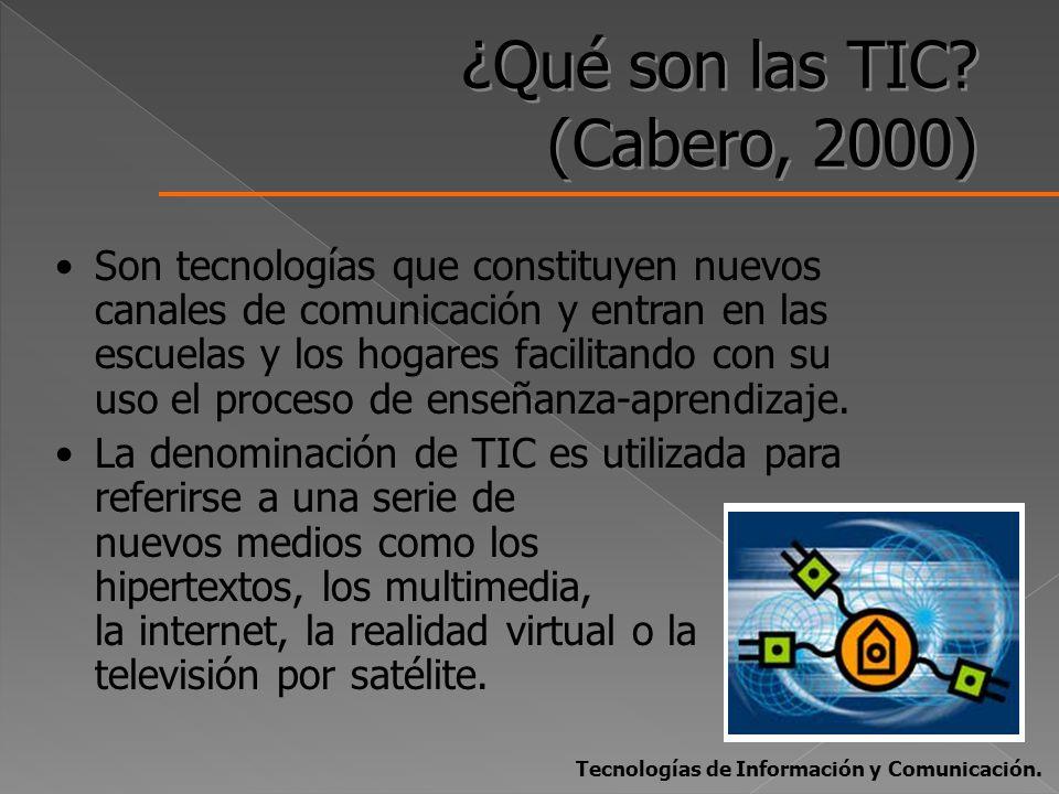 ¿Qué son las TIC? (Cabero, 2000) Son tecnologías que constituyen nuevos canales de comunicación y entran en las escuelas y los hogares facilitando con