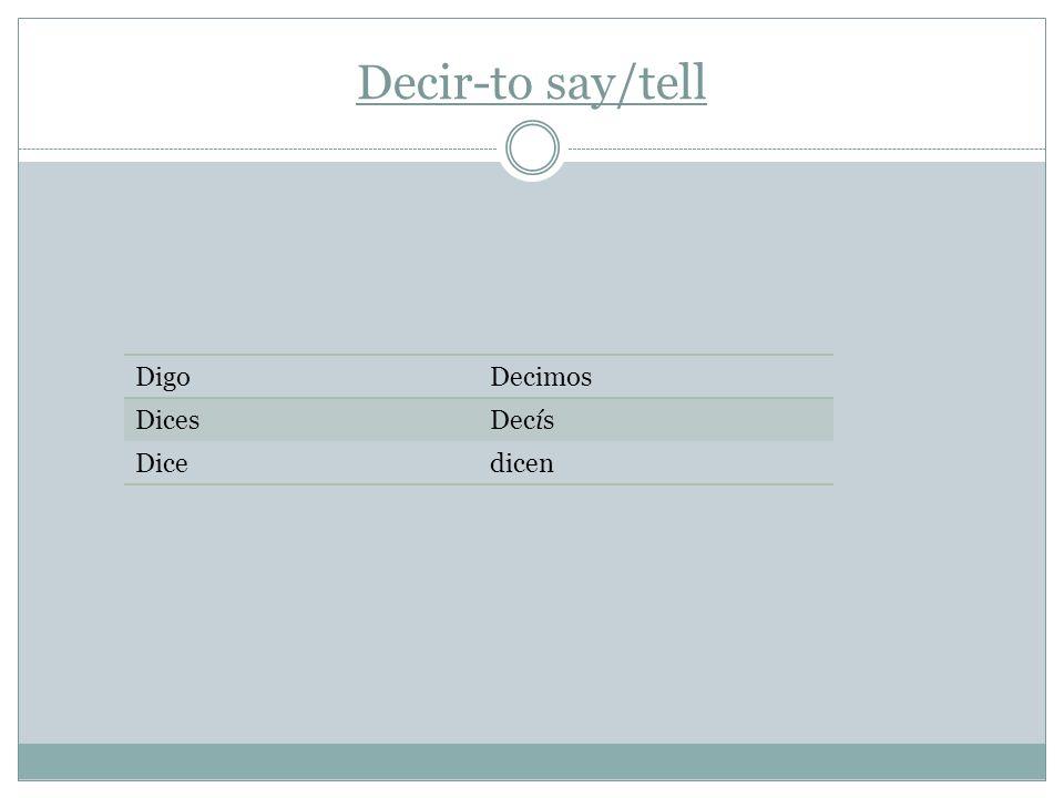 Decir-to say/tell DigoDecimos DicesDecís Dicedicen