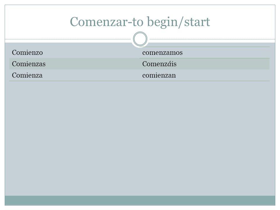 Comenzar-to begin/start Comienzocomenzamos ComienzasComenzáis Comienzacomienzan