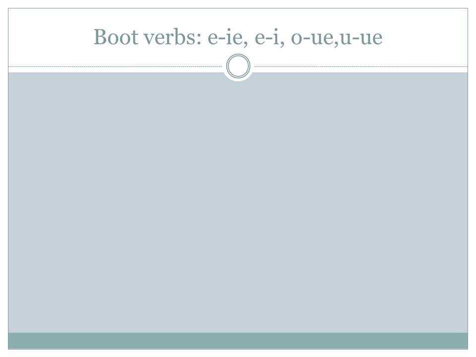Boot verbs: e-ie, e-i, o-ue,u-ue