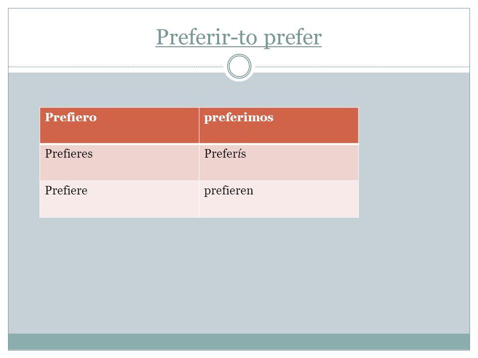 Preferir-to prefer Prefieropreferimos PrefieresPreferís Prefiereprefieren