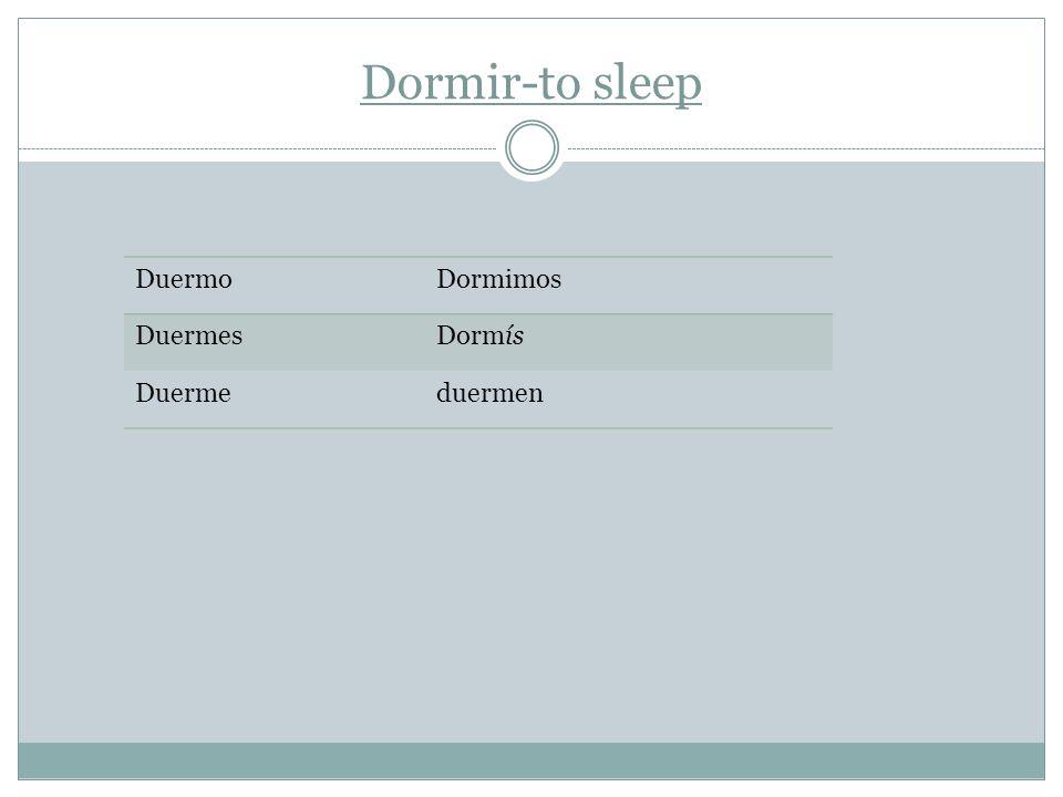 Dormir-to sleep DuermoDormimos DuermesDormís Duermeduermen