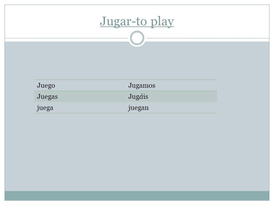 Jugar-to play JuegoJugamos JuegasJugáis juegajuegan