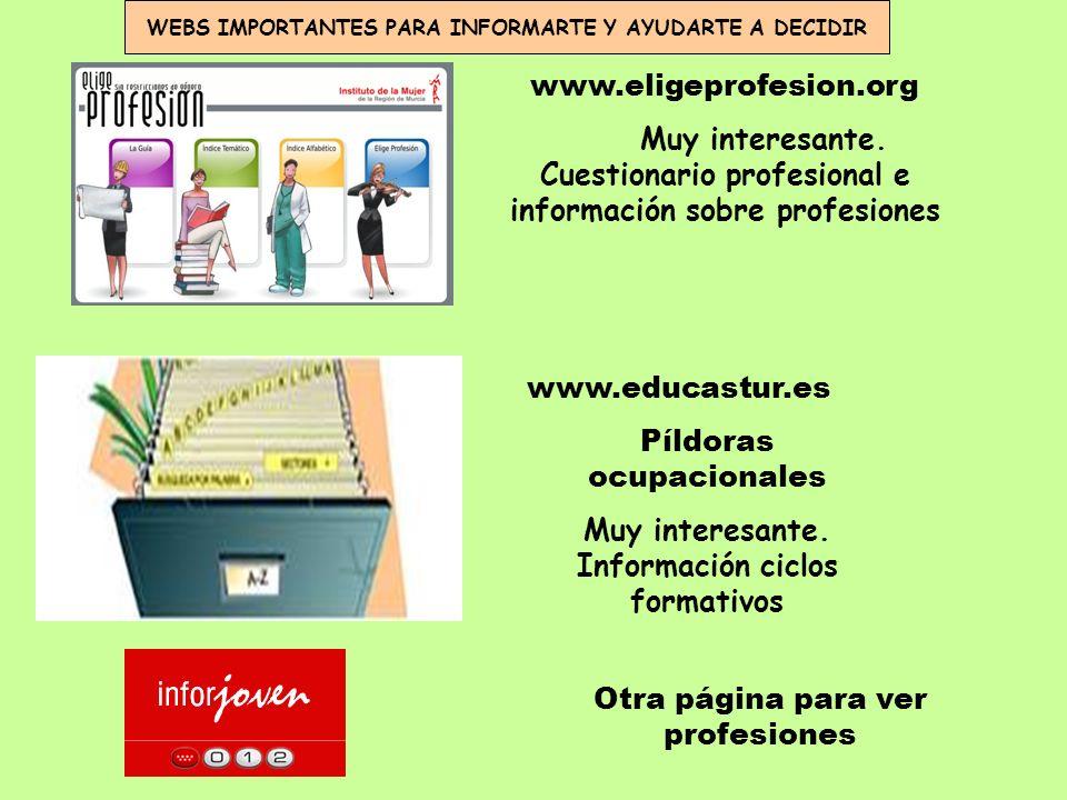 Otra página para ver profesiones www.educastur.es Píldoras ocupacionales Muy interesante. Información ciclos formativos www.eligeprofesion.org Muy int